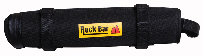 Rock Bar storage case, Rock Bar 7 case for storing extra gear. Includes removable hexaganol ripstop pouch. Ideal for cyslists needing to carry extra tube, tools, batteries, energy bars, etc. How you use it is up to you.   32 x 6.5 x 6 cm. Zippered opening, two removable straps, padded nylon shell.