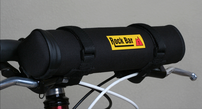 View of the Rock Bar cycling case on top of handle bars.