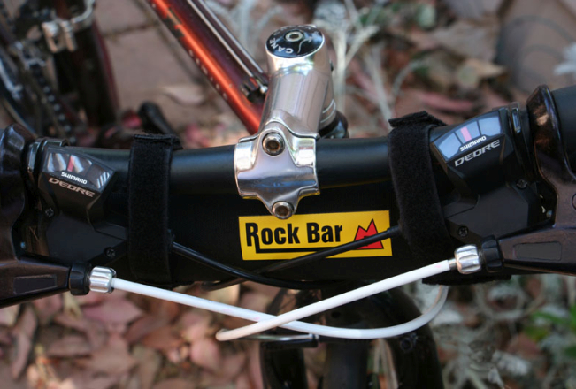 View of the Rock Bar cycling case on handle bars.