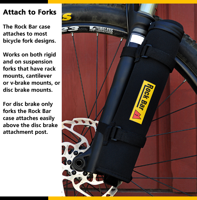 Bicycle storage case on MTB style fork.