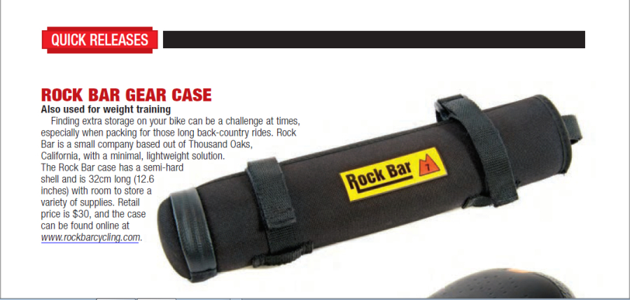 December 2017 News Release for the Rock Bar in Mountain Bike Action magazine. The editors at MTB action reviewed the Rock Bar.